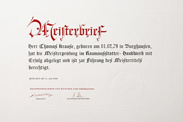 Meisterbrief, Thomas Krause Ihr Raumausstatter in Waldkraiburg